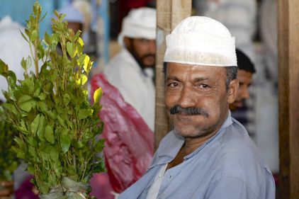 This man is holding the Qat plant. Credit : FoodFusion